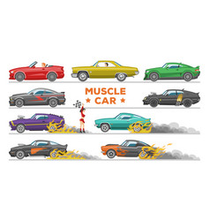 muscle car racing speedcar on a track and vector image