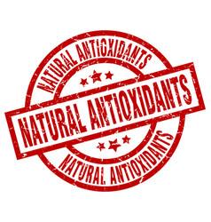 Natural antioxidants round red grunge stamp vector