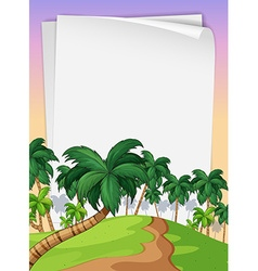 Paper template with trees in background vector