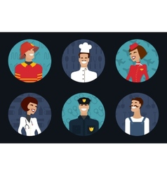People profession occupation firefighter cooker vector