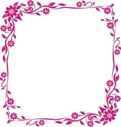 Pink frame floral vector