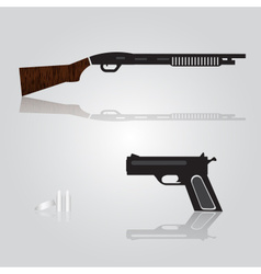 pistol and shotgun weapons eps10 vector image