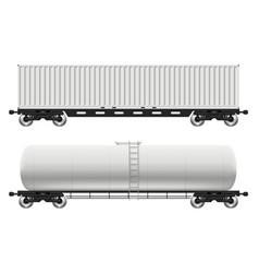 railroad tank and container cars vector image
