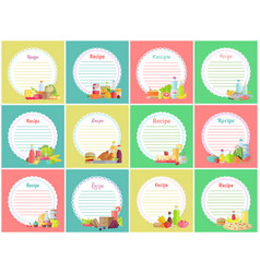 Recipe note with empty lines sticker blank vector