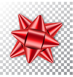red bow 3d ribbon decor element package shiny vector image