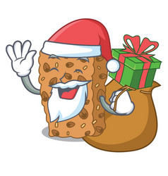 Santa with gift granola bar mascot cartoon vector