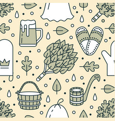 sauna steam bath room seamless pattern with line vector image