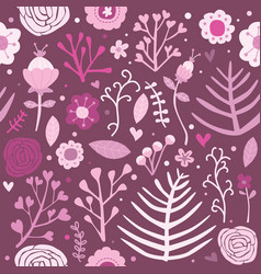 seamless pattern floral pink background editable vector image