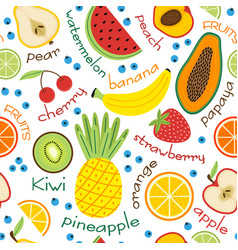 seamless pattern with fruits and inscriptions vector image