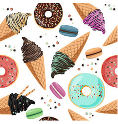 Seamless pattern with sweets - ice cream macarons vector