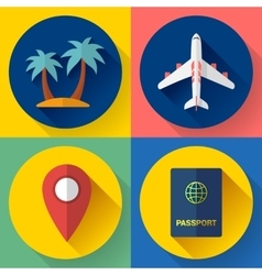 Set flat quality travel icons vector