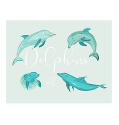 Set four dolphins vector