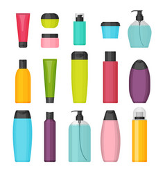 Set of flat colorful cosmetic bottles vector
