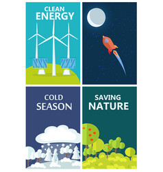 Set of posters urging people to be eco-friendly vector