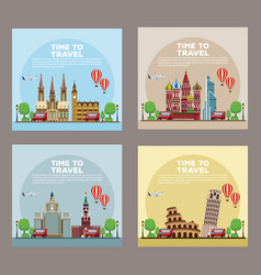 Set of time to travel infographic vector