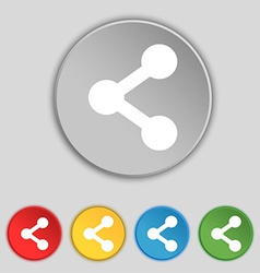 Share icon sign Symbol on five flat buttons vector