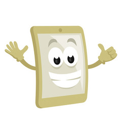 smiley smart phone mascot vector image