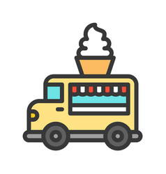 Soft serve truck food truck filled style vector