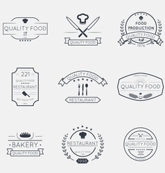 Thin line food emblems vector image