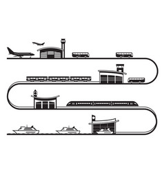 Travel among different transport stations vector