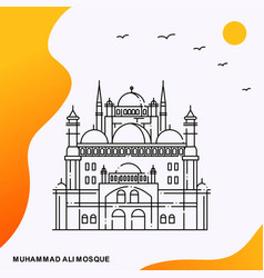 Travel muhammad ali mosque poster template vector