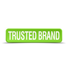 Trusted brand green 3d realistic square isolated vector