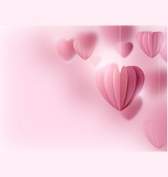 valentines day pink hearts and clouds vector image