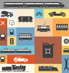 Vintage and modern vehicle silhouettes vector image