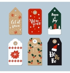Vintage Christmas gift tags set Hand drawn labels vector image