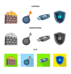 Virus and secure logo set vector