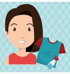Woman cartoon tshirt bottle spray vector