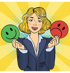 Woman Holdings Emoticons in her Hands Pop Art vector image