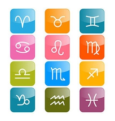 Zodiac horoscope rectangle colorful symbols vector