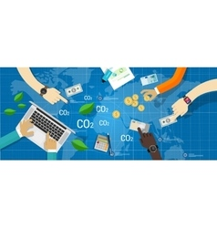 carbon emission trading green economy vector image