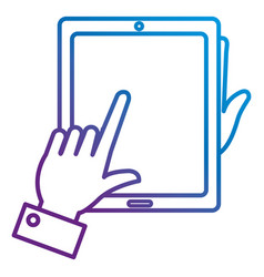 hands with tablet device isolated icon vector image vector image