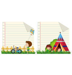 Line paper template with kids in the park vector