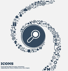 magnifying glass zoom icon sign in the center vector image vector image