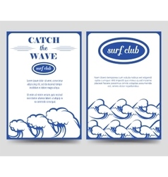 Surf brochure flyer template with waves vector image