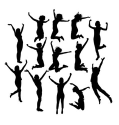 woman happy jumping expression silhouettes vector image