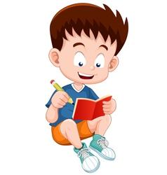 Boy reading open book vector image vector image