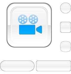 Cinema white button vector image