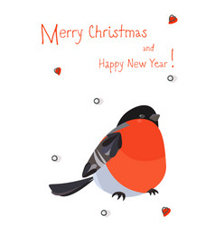 colorful card with bright bird bullfinch vector image