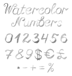 Hand drawn watercolor numbers vector image vector image