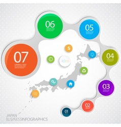 Japan Map and Elements Infographic vector image vector image