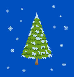 merry christmas tree sign on blue background vector image vector image