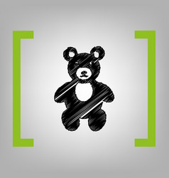 teddy bear sign black vector image vector image