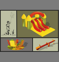 attractions in the childrens park vector image