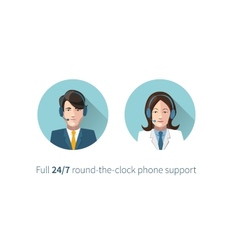 Full round-the-clock phone support icons vector image