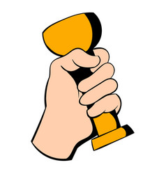 hand holding trophy cup icon icon cartoon vector image vector image