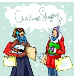Happy women with shopping bags vector